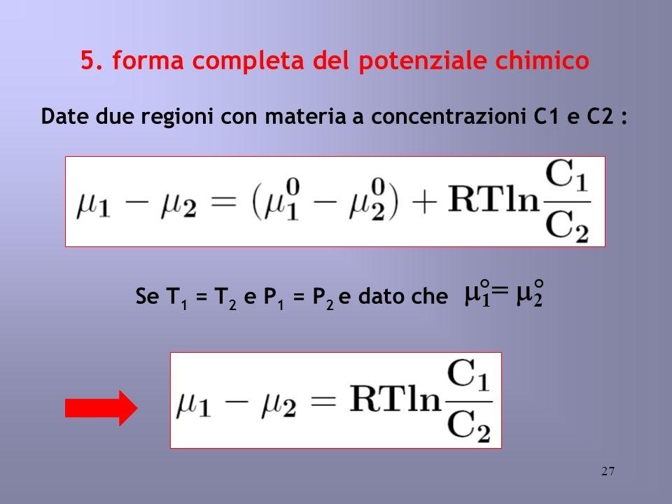 27 5. forma completa del potenziale chimico Date due regioni con materia a concentrazioni C1 e C2 : Se T 1 = T 2 e P 1 = P 2 e dato che 1 = 2 °°