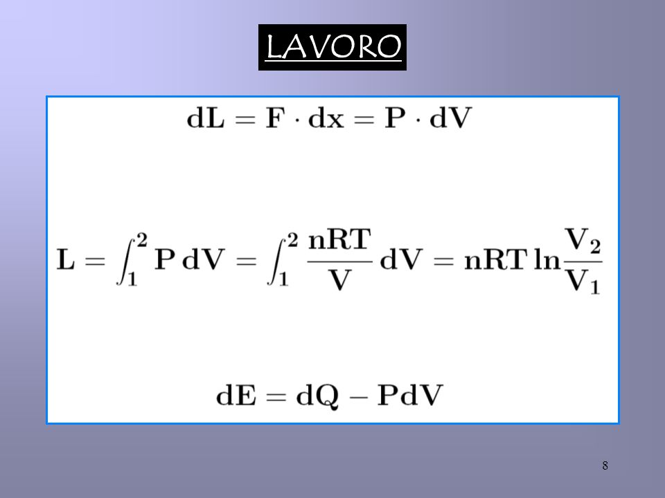 19 2) Espansione isoterma di un gas perfetto nel vuoto Essendo : T = cost E = E(T) E = 0 Per un processo spontaneo : V2 V1