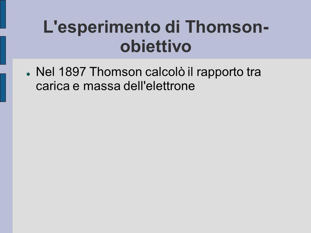L'esperimento di Thomson- obiettivo Nel 1897 Thomson calcolò il rapporto tra carica e massa dell'elettrone