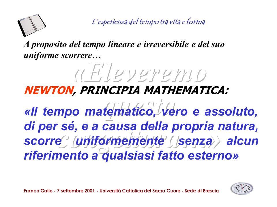 Lesperienza del tempo tra vita e forma Franco Gallo - 7 settembre 2001 - Università Cattolica del Sacro Cuore - Sede di Brescia A proposito del tempo