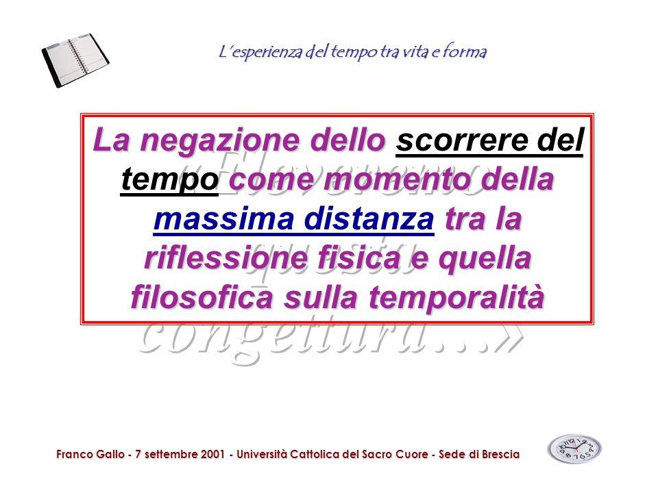 Lesperienza del tempo tra vita e forma Franco Gallo - 7 settembre 2001 - Università Cattolica del Sacro Cuore - Sede di Brescia La negazione dello com