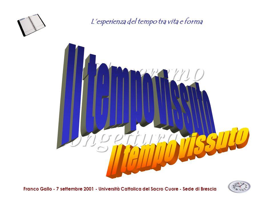Lesperienza del tempo tra vita e forma Franco Gallo - 7 settembre 2001 - Università Cattolica del Sacro Cuore - Sede di Brescia