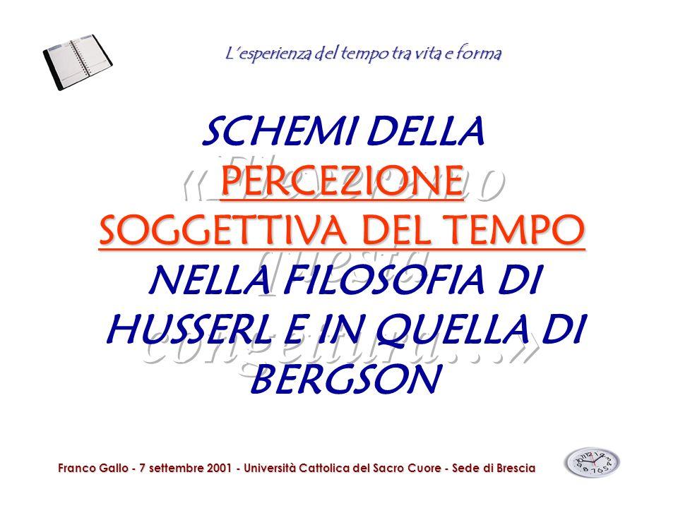 Lesperienza del tempo tra vita e forma Franco Gallo - 7 settembre 2001 - Università Cattolica del Sacro Cuore - Sede di Brescia PERCEZIONE SOGGETTIVA