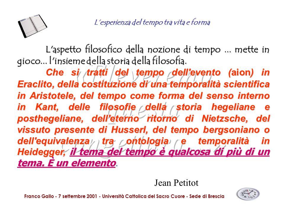 Lesperienza del tempo tra vita e forma Franco Gallo - 7 settembre 2001 - Università Cattolica del Sacro Cuore - Sede di Brescia In altri termini: il tempo non è mai qualcosa di semplicemente presente, non è empiricamente intuibile.