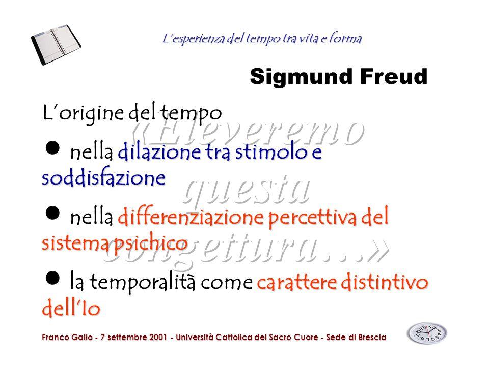 Lesperienza del tempo tra vita e forma Franco Gallo - 7 settembre 2001 - Università Cattolica del Sacro Cuore - Sede di Brescia Sigmund Freud Lorigine