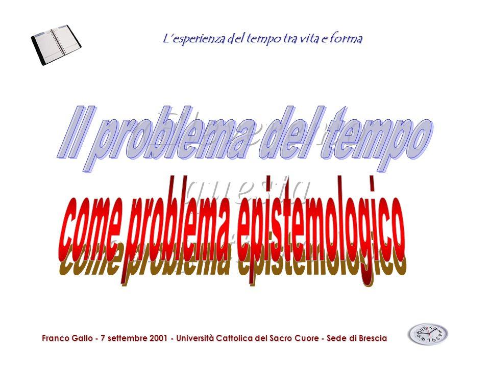 Lesperienza del tempo tra vita e forma Franco Gallo - 7 settembre 2001 - Università Cattolica del Sacro Cuore - Sede di Brescia Lesperienza dellattualità non è la stessa per tutti.