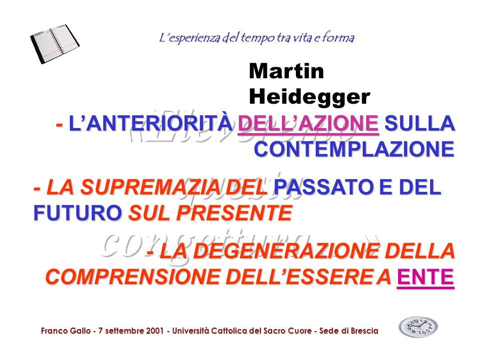 Lesperienza del tempo tra vita e forma Franco Gallo - 7 settembre 2001 - Università Cattolica del Sacro Cuore - Sede di Brescia - LANTERIORITÀ DELLAZI