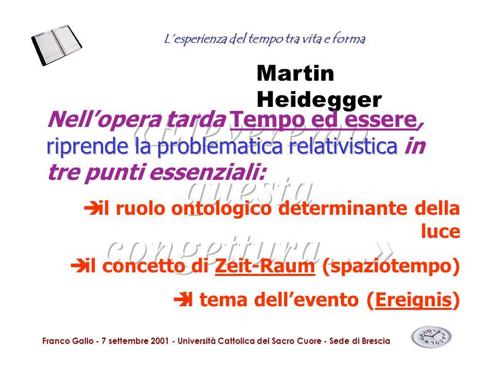 Lesperienza del tempo tra vita e forma Franco Gallo - 7 settembre 2001 - Università Cattolica del Sacro Cuore - Sede di Brescia Martin Heidegger ripre