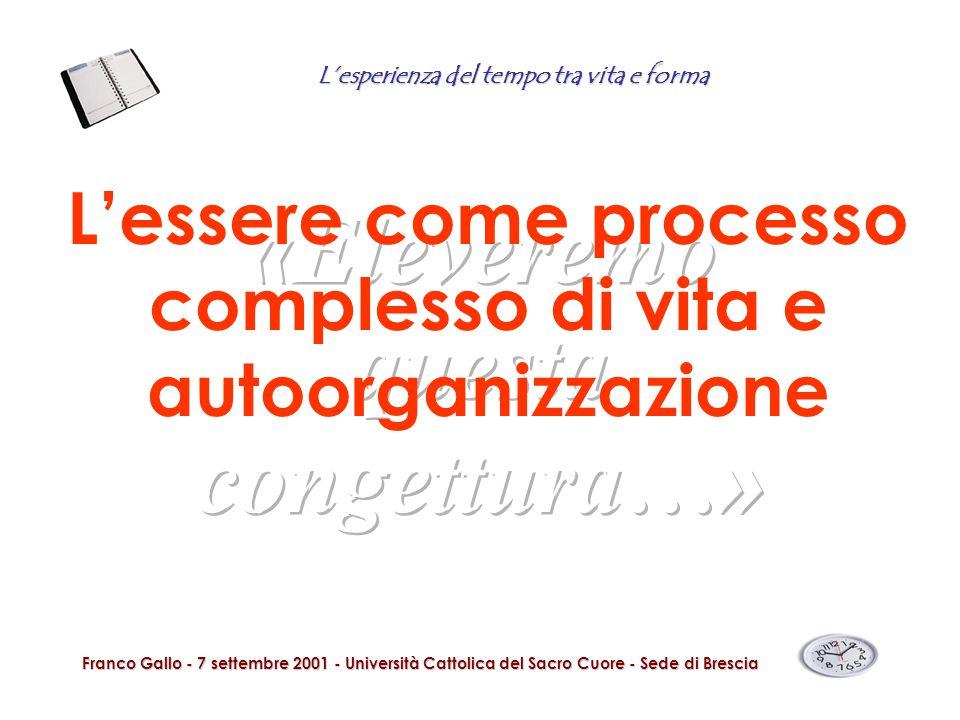 Lesperienza del tempo tra vita e forma Franco Gallo - 7 settembre 2001 - Università Cattolica del Sacro Cuore - Sede di Brescia Lessere come processo