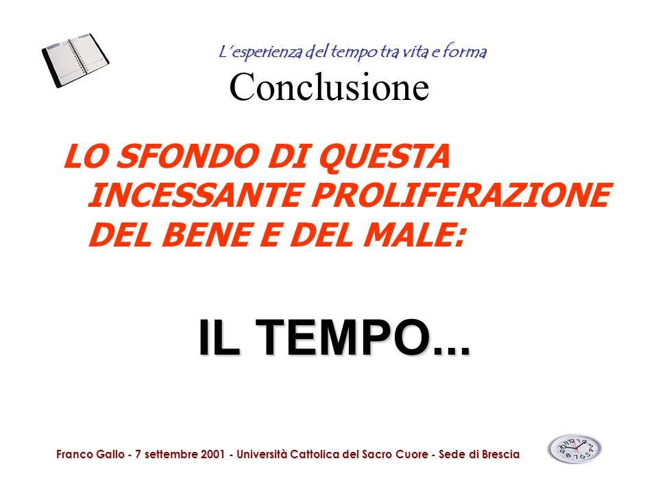 Conclusione LO SFONDO DI QUESTA INCESSANTE PROLIFERAZIONE DEL BENE E DEL MALE: IL TEMPO... Franco Gallo - 7 settembre 2001 - Università Cattolica del