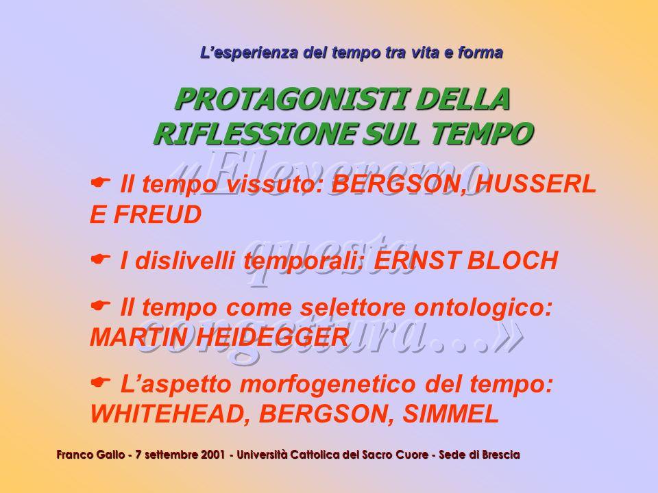 Lesperienza del tempo tra vita e forma Franco Gallo - 7 settembre 2001 - Università Cattolica del Sacro Cuore - Sede di Brescia Il tempo vissuto: BERG