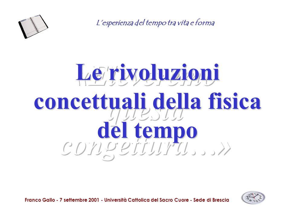 Lesperienza del tempo tra vita e forma Franco Gallo - 7 settembre 2001 - Università Cattolica del Sacro Cuore - Sede di Brescia Le rivoluzioni concett