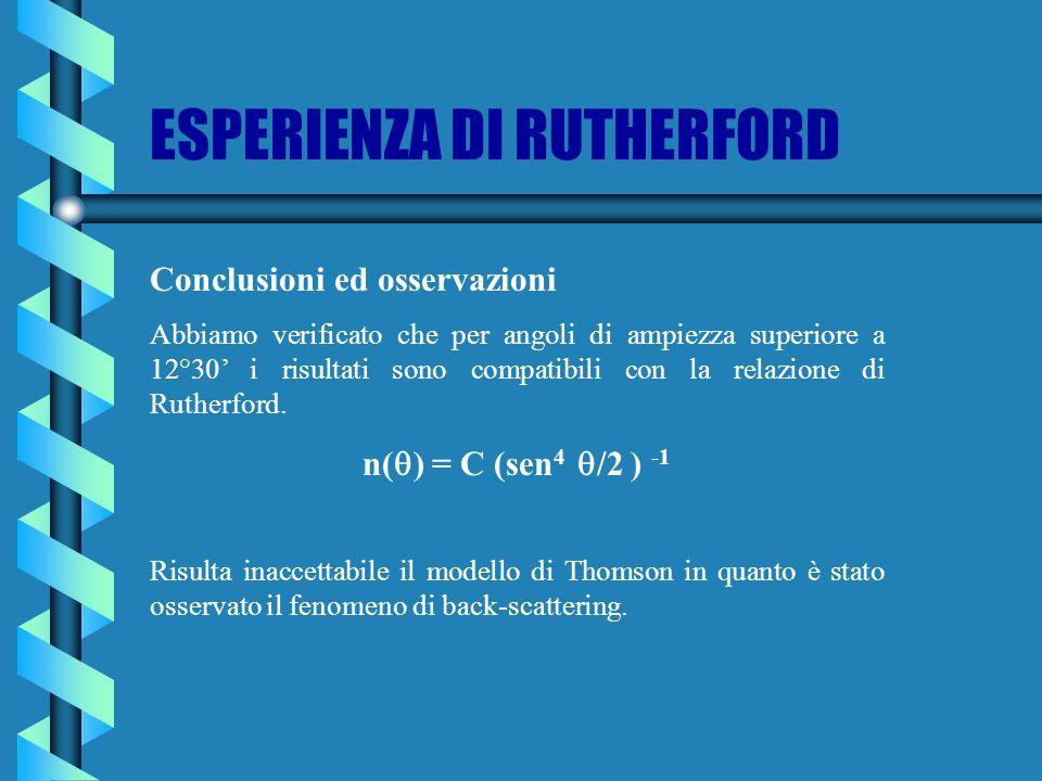 Conclusioni ed osservazioni Abbiamo verificato che per angoli di ampiezza superiore a 12°30 i risultati sono compatibili con la relazione di Rutherfor