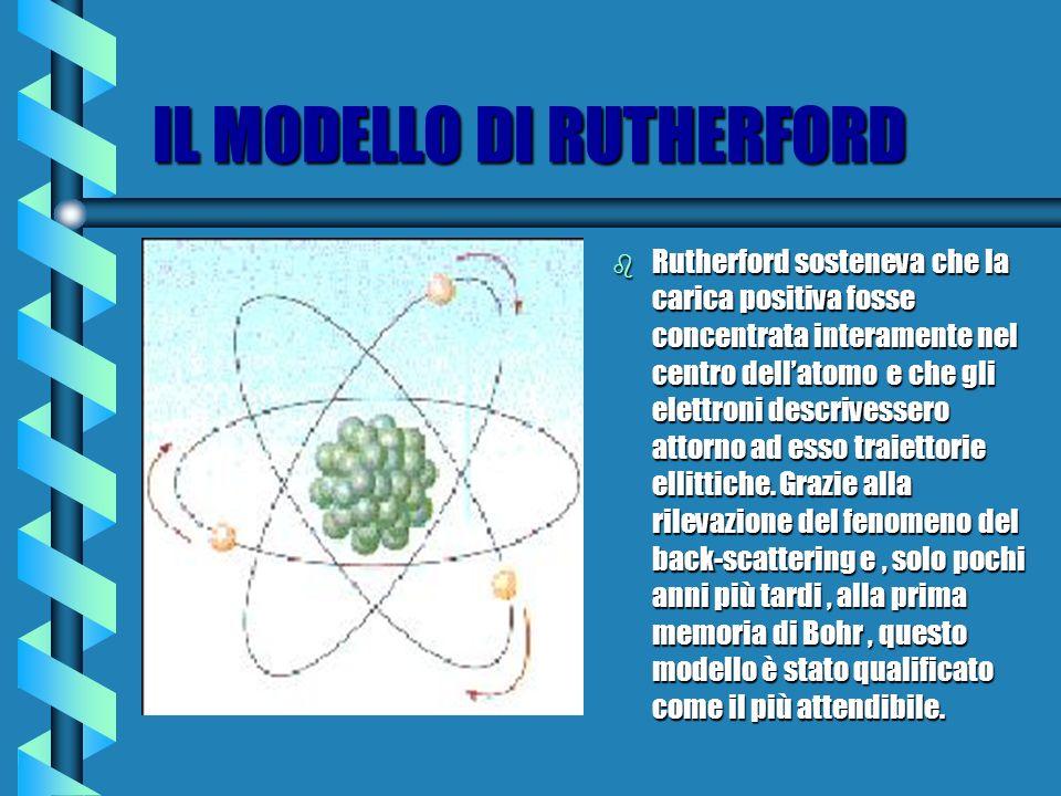 IL MODELLO DI RUTHERFORD b Rutherford sosteneva che la carica positiva fosse concentrata interamente nel centro dellatomo e che gli elettroni descrivessero attorno ad esso traiettorie ellittiche.