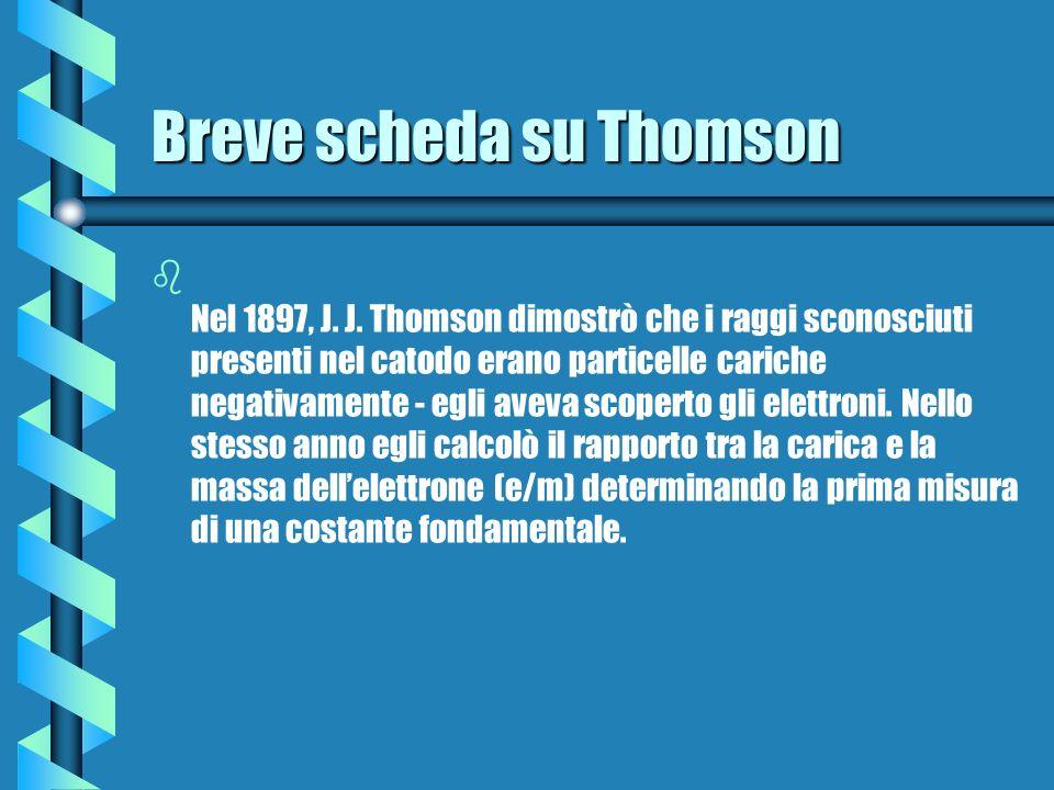 Breve scheda su Thomson b b Nel 1897, J. J. Thomson dimostrò che i raggi sconosciuti presenti nel catodo erano particelle cariche negativamente - egli
