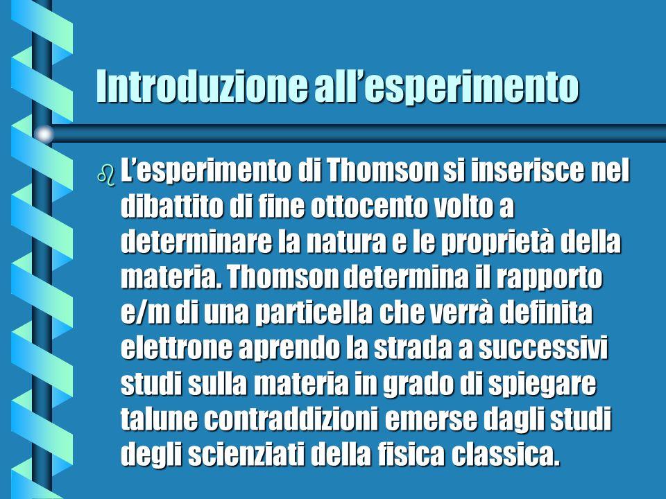 Introduzione allesperimento b Lesperimento di Thomson si inserisce nel dibattito di fine ottocento volto a determinare la natura e le proprietà della