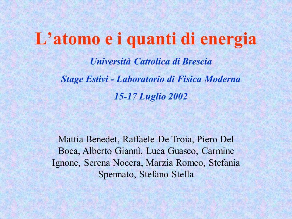 Latomo e i quanti di energia Università Cattolica di Brescia Stage Estivi - Laboratorio di Fisica Moderna 15-17 Luglio 2002 Mattia Benedet, Raffaele D
