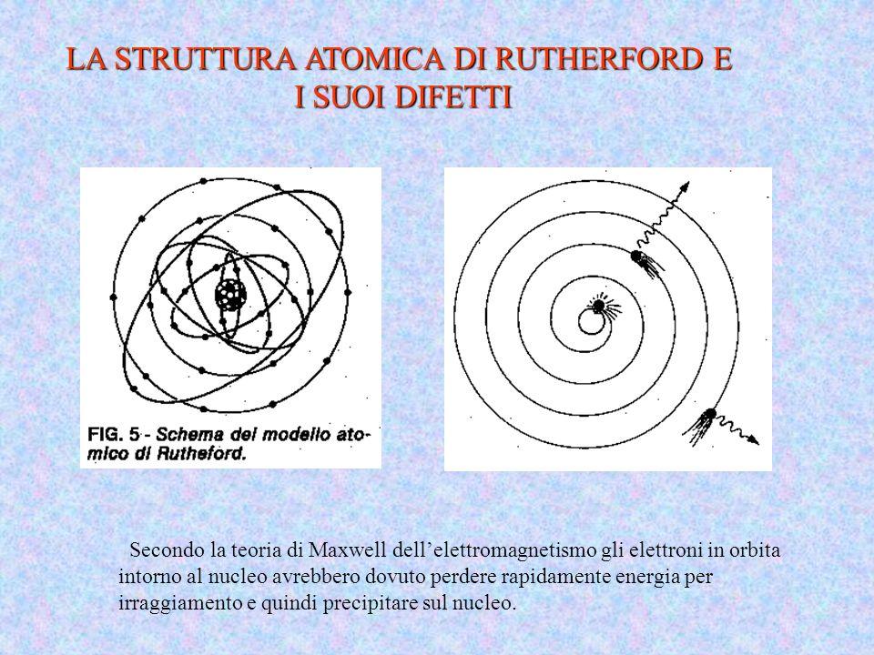 LA STRUTTURA ATOMICA DI RUTHERFORD E I SUOI DIFETTI Secondo la teoria di Maxwell dellelettromagnetismo gli elettroni in orbita intorno al nucleo avreb