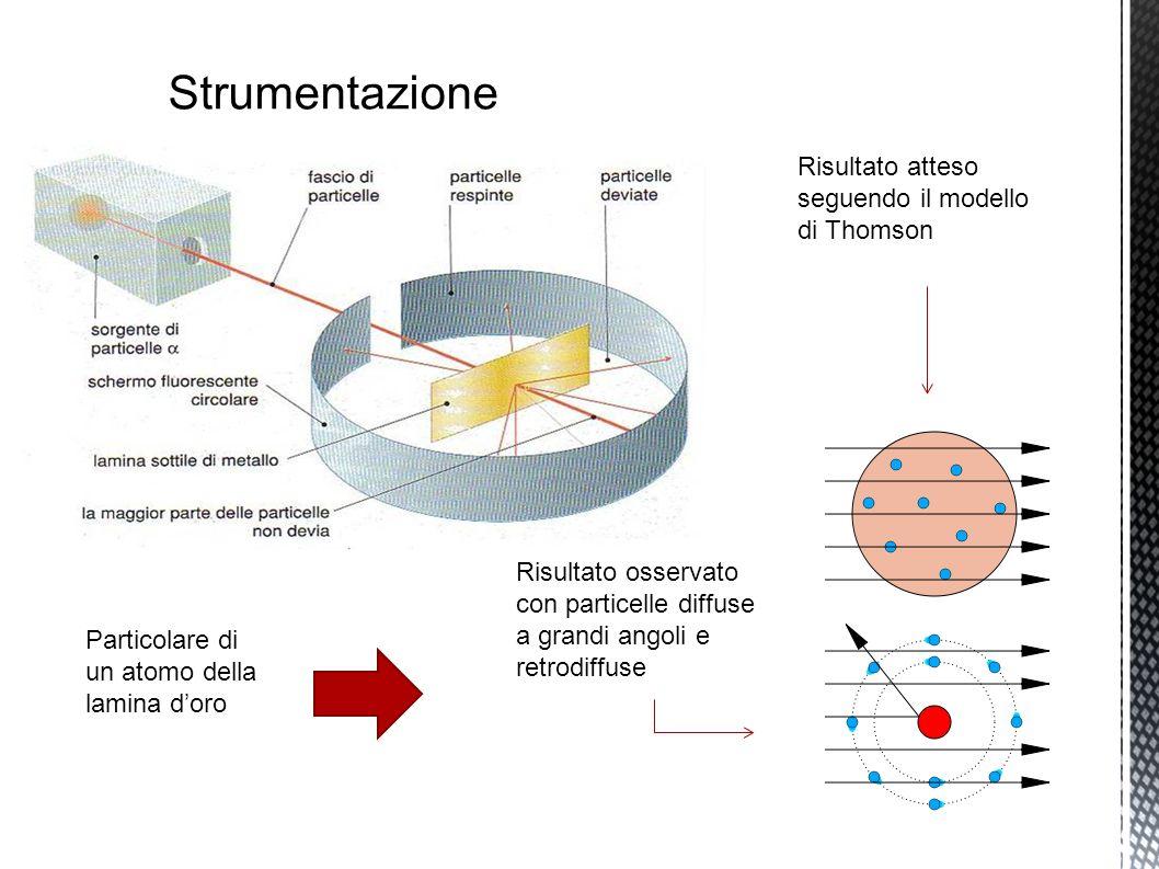 Strumentazione Risultato atteso seguendo il modello di Thomson Risultato osservato con particelle diffuse a grandi angoli e retrodiffuse Particolare di un atomo della lamina doro