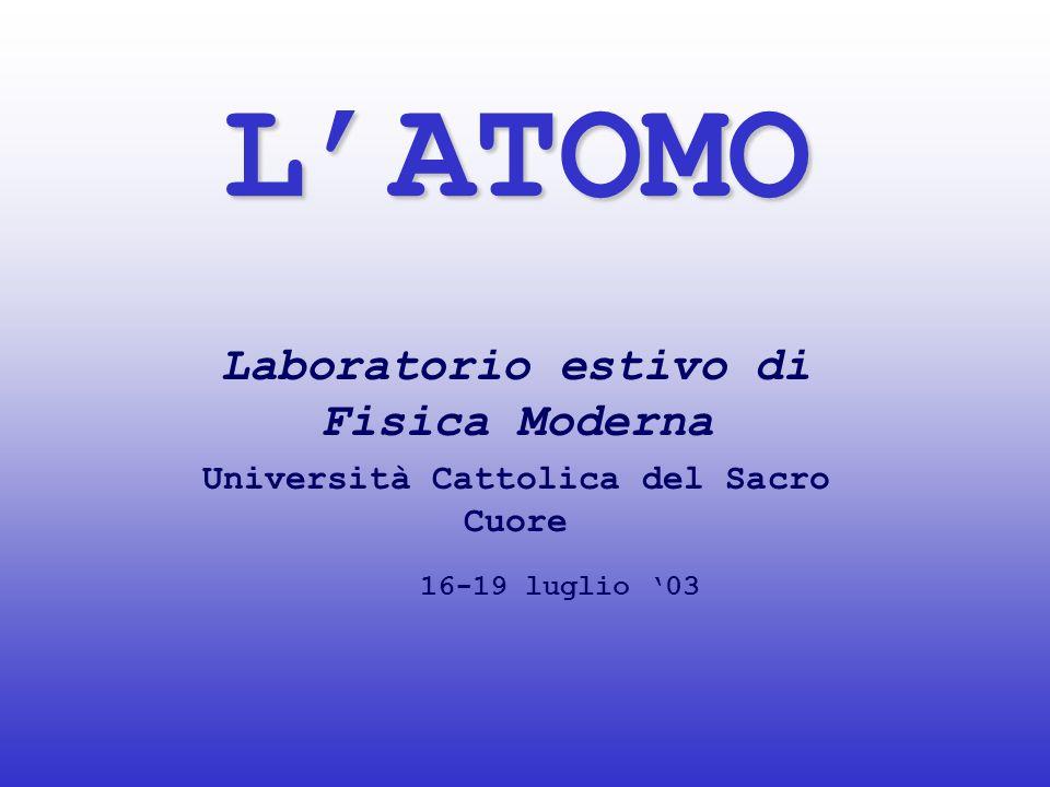 LATOMO Laboratorio estivo di Fisica Moderna Università Cattolica del Sacro Cuore 16-19 luglio 03
