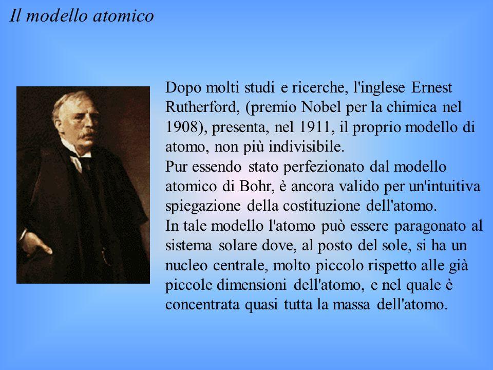 Il modello atomico Dopo molti studi e ricerche, l inglese Ernest Rutherford, (premio Nobel per la chimica nel 1908), presenta, nel 1911, il proprio modello di atomo, non più indivisibile.