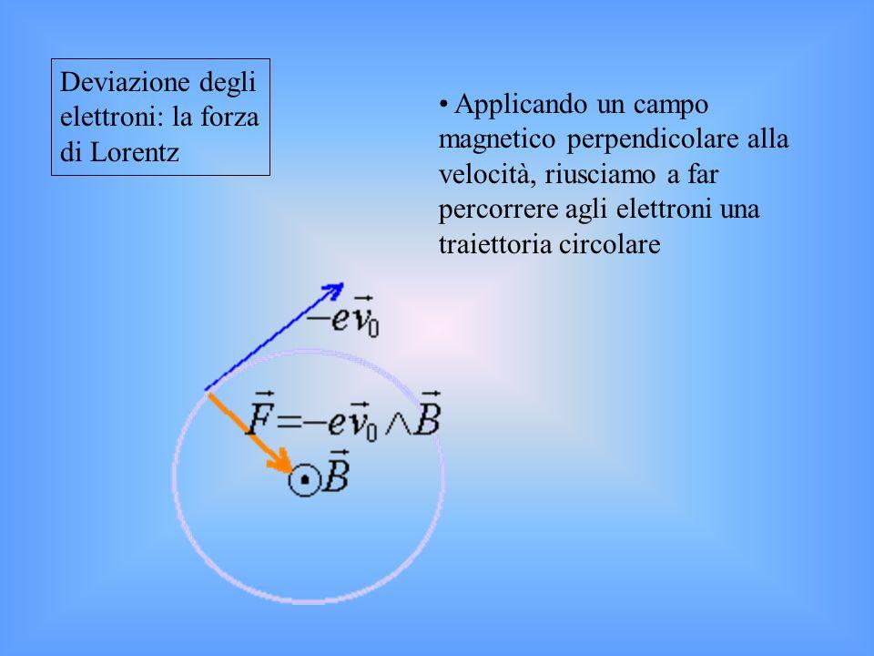 Deviazione degli elettroni: la forza di Lorentz Applicando un campo magnetico perpendicolare alla velocità, riusciamo a far percorrere agli elettroni una traiettoria circolare