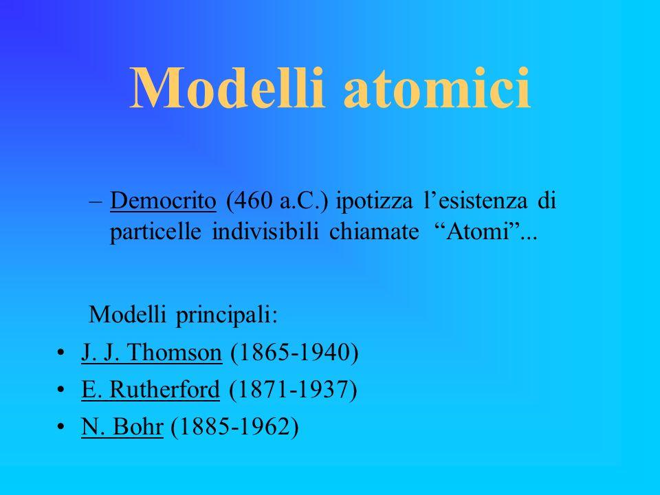 Modelli atomici –Democrito (460 a.C.) ipotizza lesistenza di particelle indivisibili chiamate Atomi... Modelli principali: J. J. Thomson (1865-1940) E