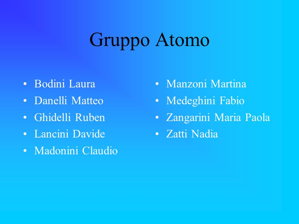Gruppo Atomo Bodini Laura Danelli Matteo Ghidelli Ruben Lancini Davide Madonini Claudio Manzoni Martina Medeghini Fabio Zangarini Maria Paola Zatti Na