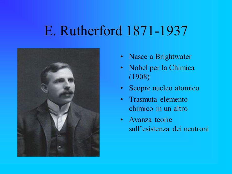 E. Rutherford 1871-1937 Nasce a Brightwater Nobel per la Chimica (1908) Scopre nucleo atomico Trasmuta elemento chimico in un altro Avanza teorie sull