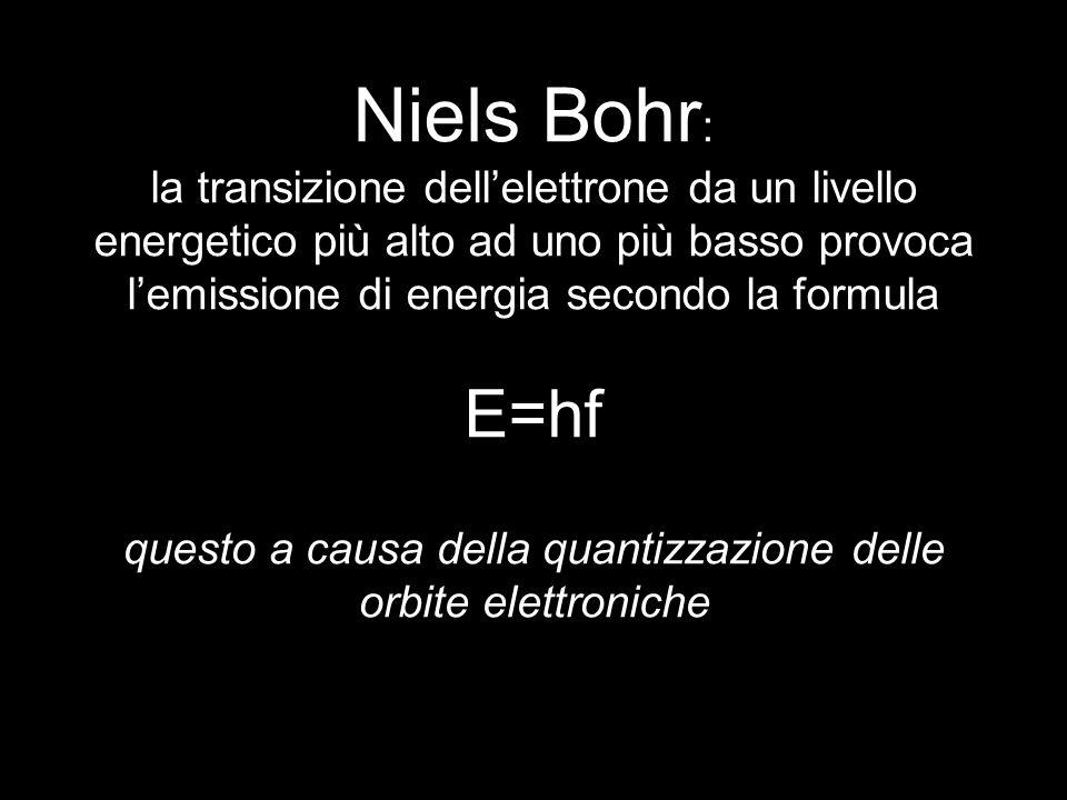 Niels Bohr : la transizione dellelettrone da un livello energetico più alto ad uno più basso provoca lemissione di energia secondo la formula E=hf que