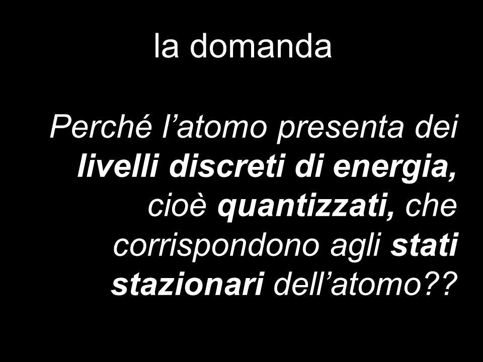 la domanda Perché latomo presenta dei livelli discreti di energia, cioè quantizzati, che corrispondono agli stati stazionari dellatomo??