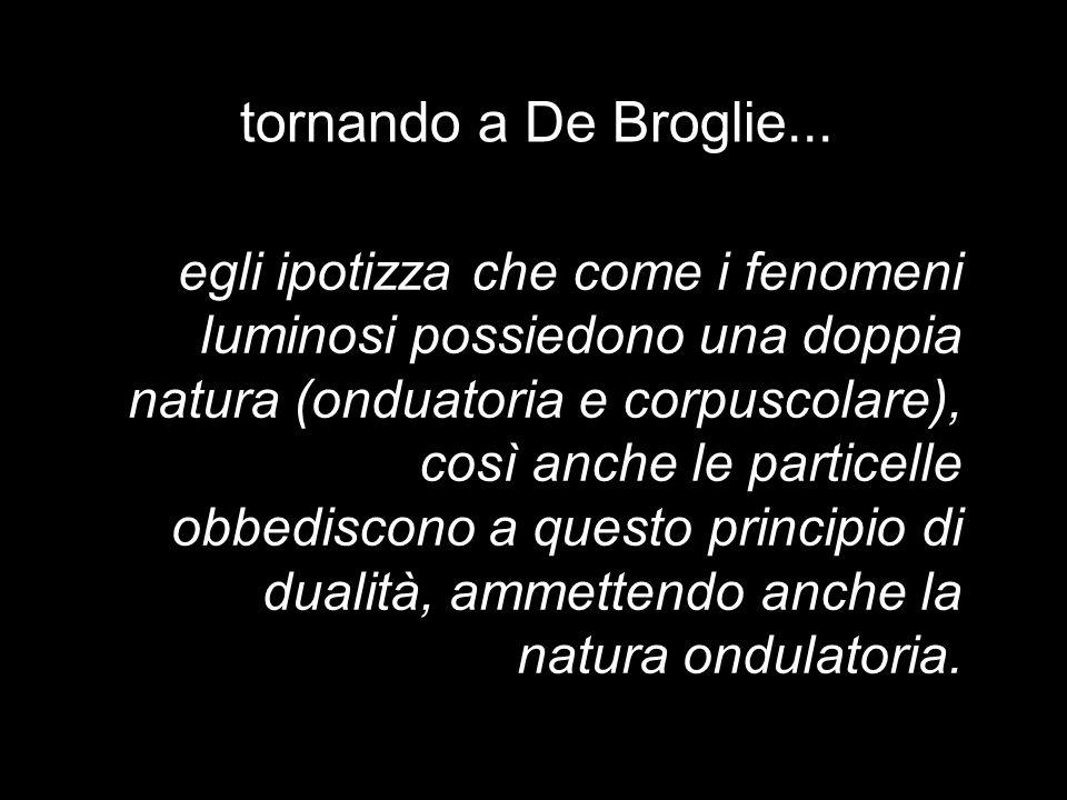 tornando a De Broglie... egli ipotizza che come i fenomeni luminosi possiedono una doppia natura (onduatoria e corpuscolare), così anche le particelle