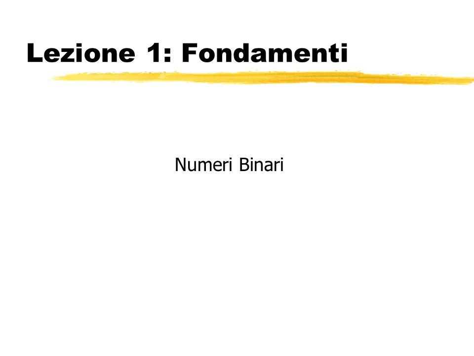 Sommario zI numeri binari zOperazioni con i numeri binari