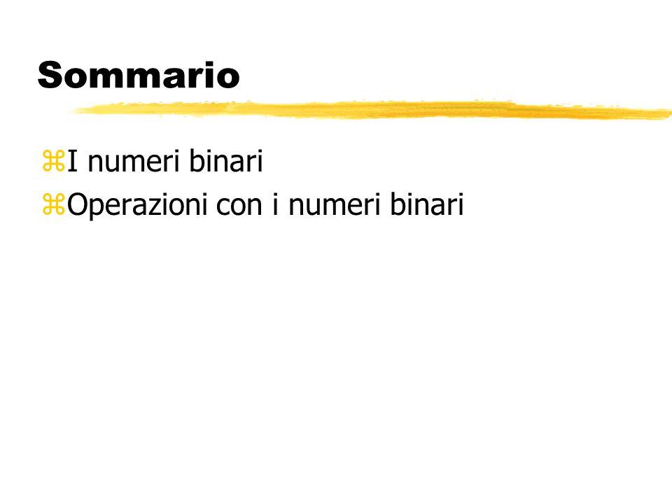I numeri binari zNumeri a precisione finita zNotazione posizionale zConversioni tra basi
