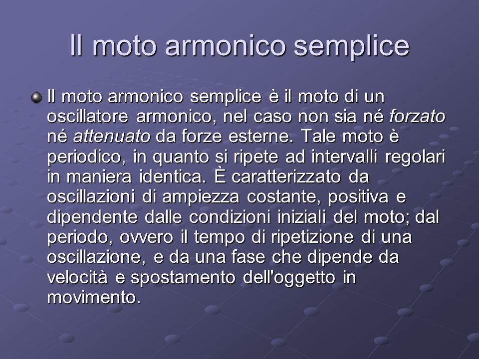 Il moto armonico semplice Il moto armonico semplice è il moto di un oscillatore armonico, nel caso non sia né forzato né attenuato da forze esterne. T