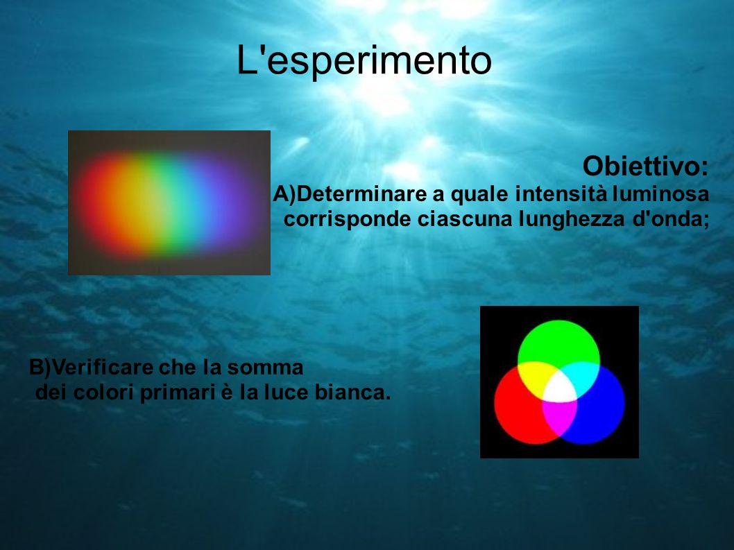 L'esperimento Obiettivo: A)Determinare a quale intensità luminosa corrisponde ciascuna lunghezza d'onda; B)Verificare che la somma dei colori primari