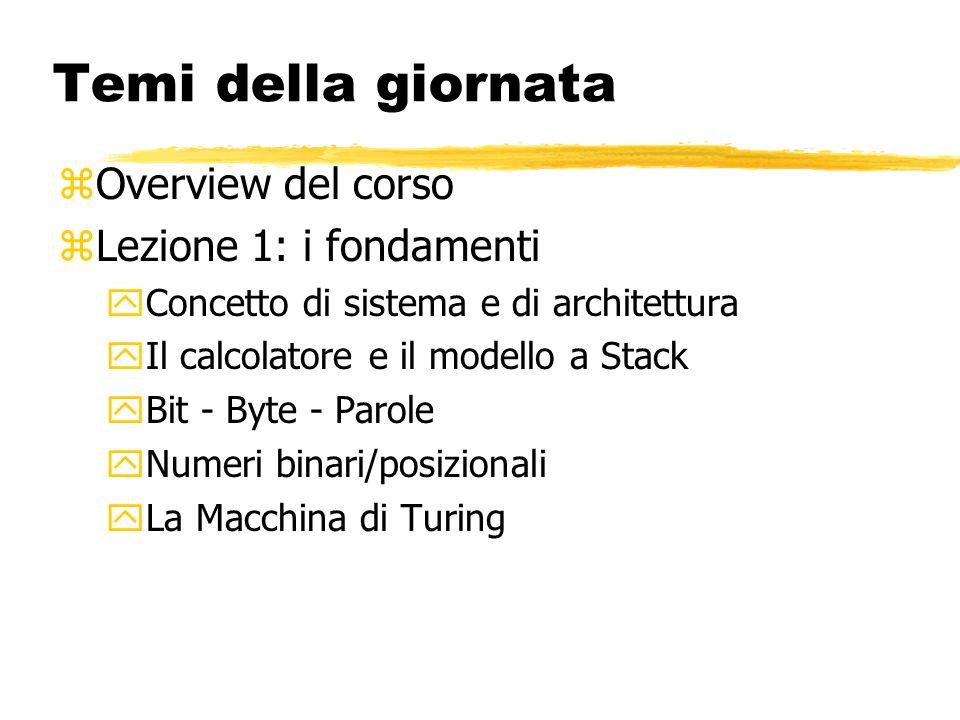 Temi della giornata zOverview del corso zLezione 1: i fondamenti yConcetto di sistema e di architettura yIl calcolatore e il modello a Stack yBit - Byte - Parole yNumeri binari/posizionali yLa Macchina di Turing
