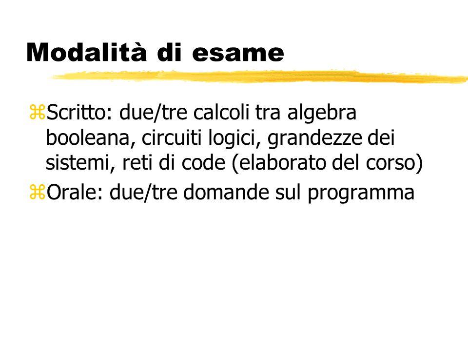 Modalità di esame zScritto: due/tre calcoli tra algebra booleana, circuiti logici, grandezze dei sistemi, reti di code (elaborato del corso) zOrale: due/tre domande sul programma