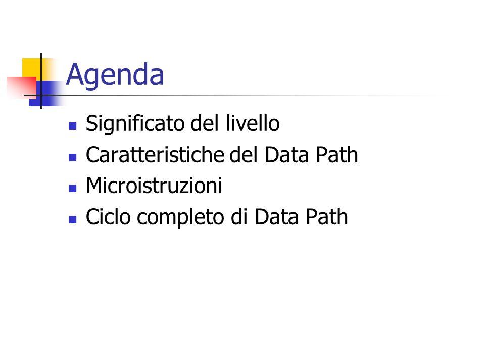 Agenda Significato del livello Caratteristiche del Data Path Microistruzioni Ciclo completo di Data Path