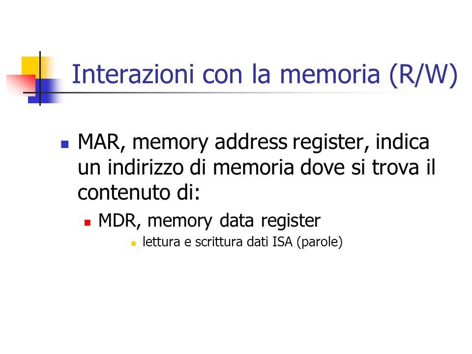 Interazioni con la memoria (R/W) MAR, memory address register, indica un indirizzo di memoria dove si trova il contenuto di: MDR, memory data register