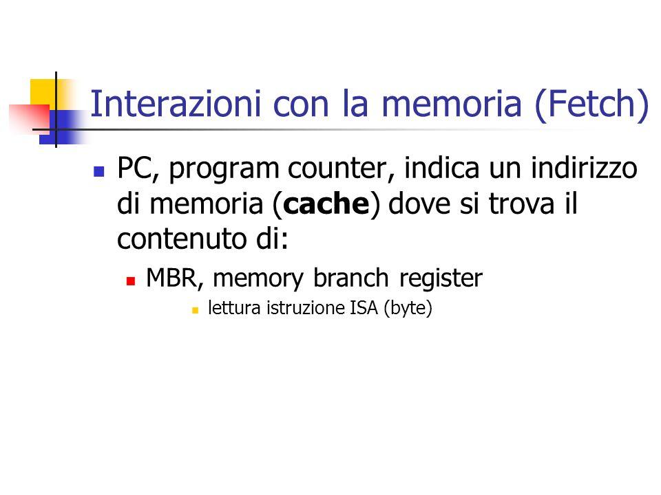 PC, program counter, indica un indirizzo di memoria (cache) dove si trova il contenuto di: MBR, memory branch register lettura istruzione ISA (byte) I
