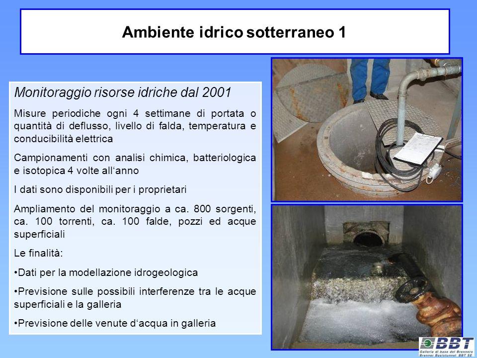 Ambiente idrico sotterraneo 1 Monitoraggio risorse idriche dal 2001 Misure periodiche ogni 4 settimane di portata o quantità di deflusso, livello di f