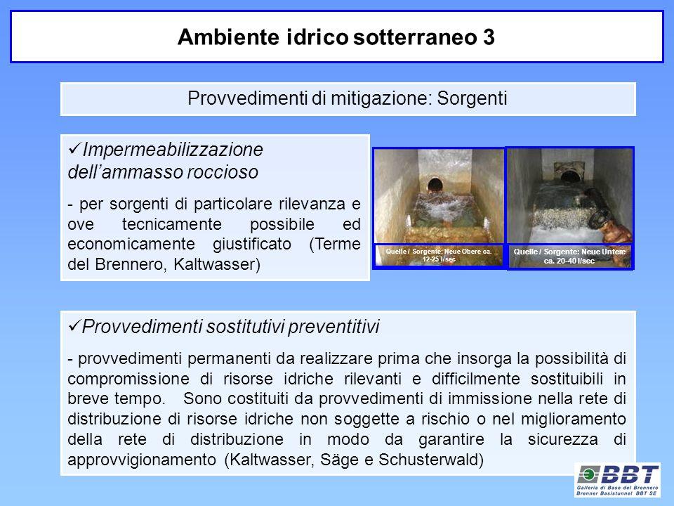 Provvedimenti di mitigazione: Sorgenti Ambiente idrico sotterraneo 3 Impermeabilizzazione dellammasso roccioso - per sorgenti di particolare rilevanza
