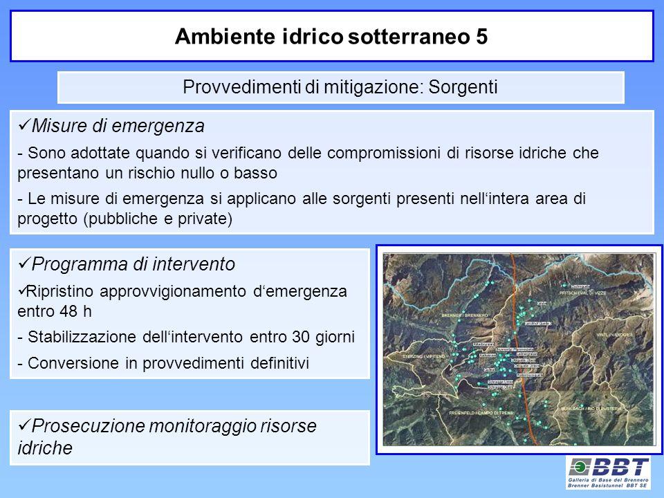 Ambiente idrico sotterraneo 5 Misure di emergenza - Sono adottate quando si verificano delle compromissioni di risorse idriche che presentano un risch