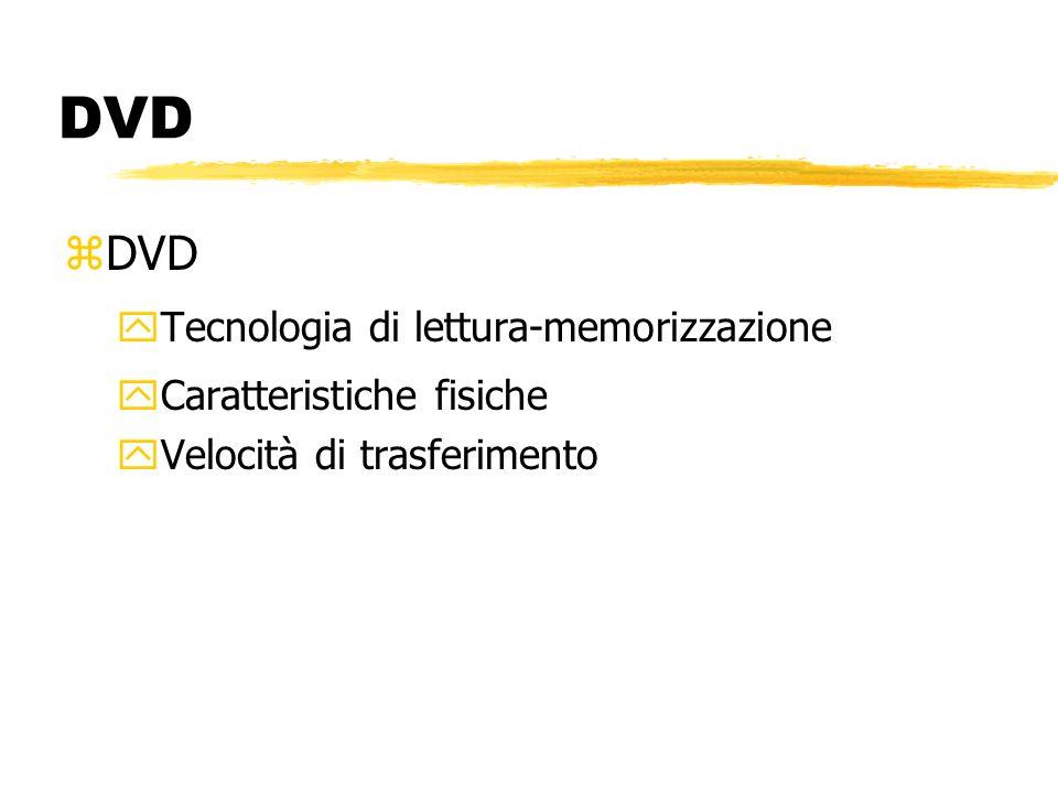 DVD zDVD yTecnologia di lettura-memorizzazione yCaratteristiche fisiche yVelocità di trasferimento