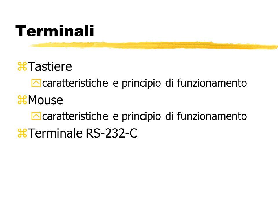 Terminali zTastiere ycaratteristiche e principio di funzionamento zMouse ycaratteristiche e principio di funzionamento zTerminale RS-232-C