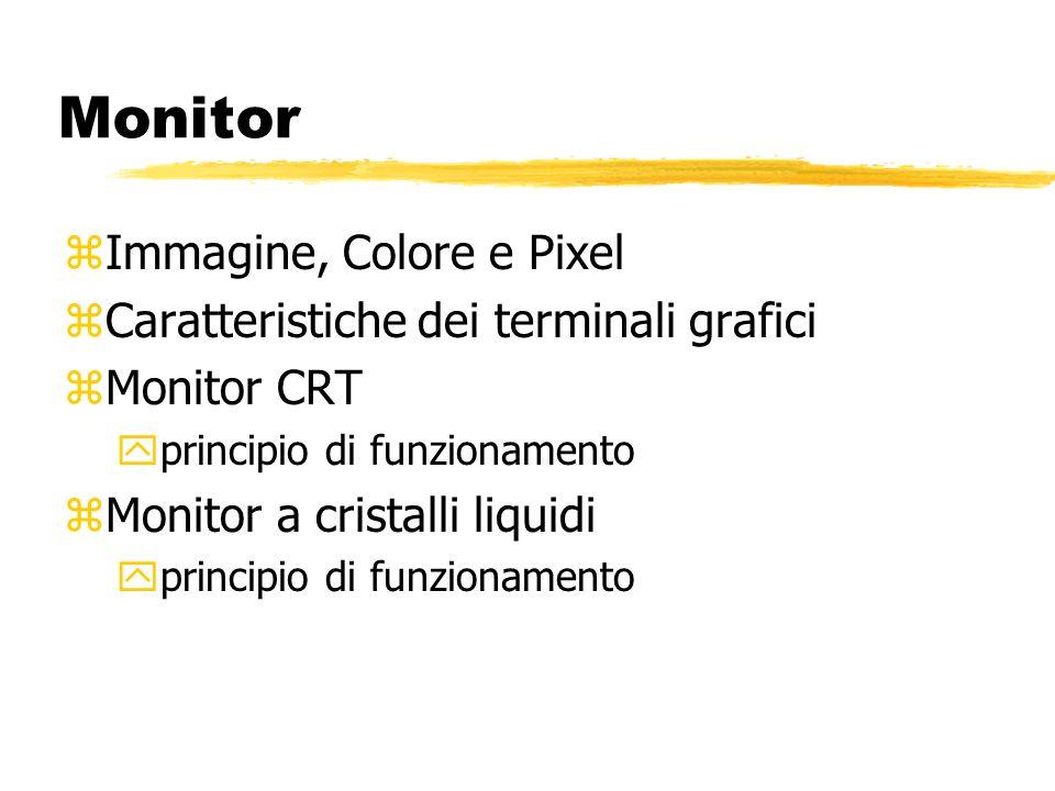 Monitor zImmagine, Colore e Pixel zCaratteristiche dei terminali grafici zMonitor CRT yprincipio di funzionamento zMonitor a cristalli liquidi yprincipio di funzionamento