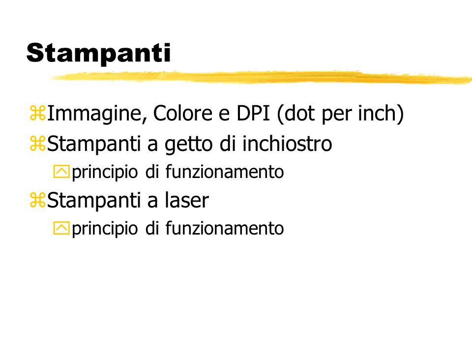Stampanti zImmagine, Colore e DPI (dot per inch) zStampanti a getto di inchiostro yprincipio di funzionamento zStampanti a laser yprincipio di funzionamento