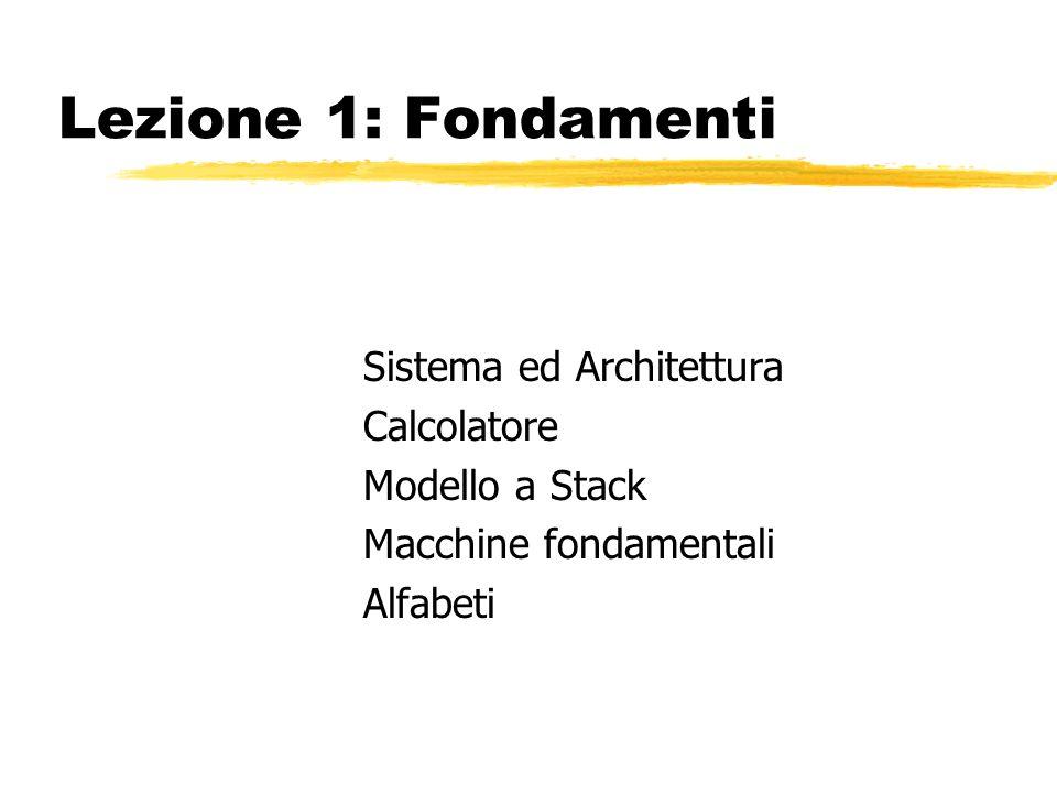Lezione 1: Fondamenti Sistema ed Architettura Calcolatore Modello a Stack Macchine fondamentali Alfabeti