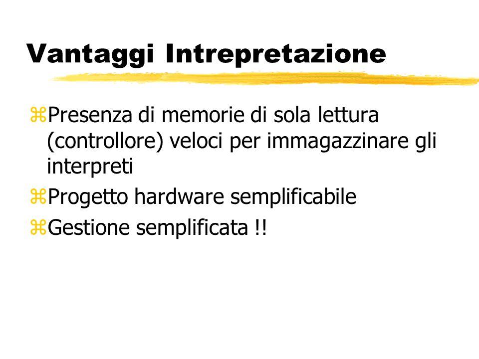 Vantaggi Intrepretazione zPresenza di memorie di sola lettura (controllore) veloci per immagazzinare gli interpreti zProgetto hardware semplificabile zGestione semplificata !!